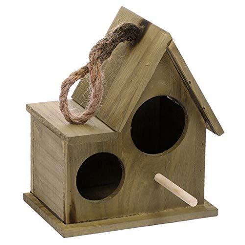 JKXWX Gabbia per Uccelli Outdoor Bird House in Legno Nido Caldo Allevamento Box Garden Home Decoration (Marrone) Gabbia Voliera (Color : Bronze, Size : S)