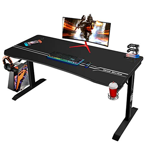 Furmax 55 Inch Gaming Desk T-Shaped PC Computer Table, Home Office Desk Carbon Fibre Surface Workstation with Free Full Coverage Mouse Pad, Cup Holder and Headphone Hook, Black