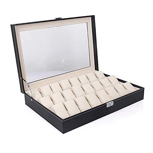 DiLiBee TOP Uhrenkoffer für 24 Uhren Uhrenaufbewahrung Uhrenkasten Uhrenvitrine Uhrenbox