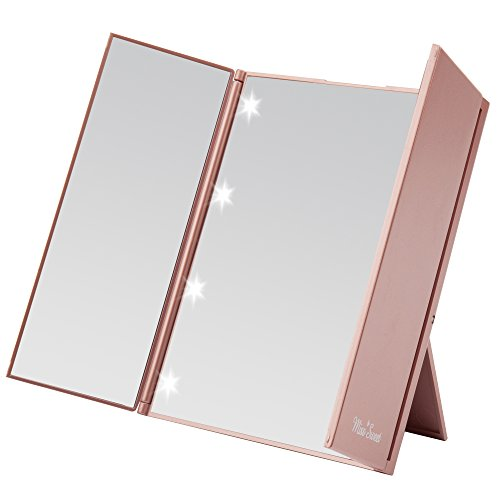 Miss Sweet Lighted Trifold Mirror for Beauty Makeup Travel Mirror Compact (Gold Rose)