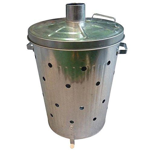 90L Galvanised Incinerator Fire Bin Burner for Garden Rubbish Paper Leaf & Wood Waste by Crystals