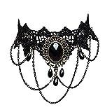 Rrunzfon Borlas Gargantilla Gargantilla collar de mujer Estilo gótico retro cordón de vendimia collar de cadena del grano pendiente (Negro)