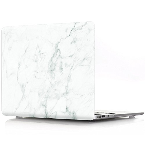 BestCatgift PRO 15 Hard Shell Custodia with Keyboard Cover per Newest MacBook PRO 15 inch with/Without Touch Bar (Model: A1990/A1707),White Marble Grain