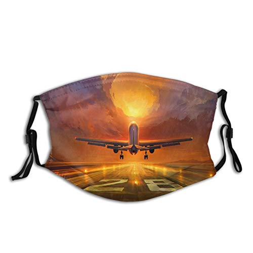 Protect Face Cover Bandana Balaclavas,Cotton Mouth Cover,For Men Women,5Ply Reusable Fashion Washable Cover,With Two Filter,Plane, Runway, Art, Sunset, Sky