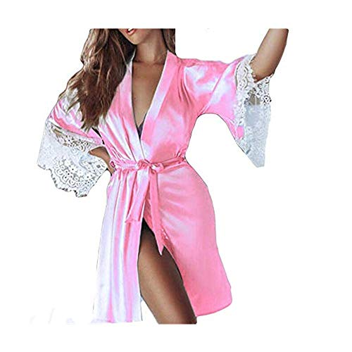 Dasongff dames ochtendjas Kimono satijn korte robe badjas nachtkleding sleepwear V-hals met riem kanten patchwork badjas Robe Large roze