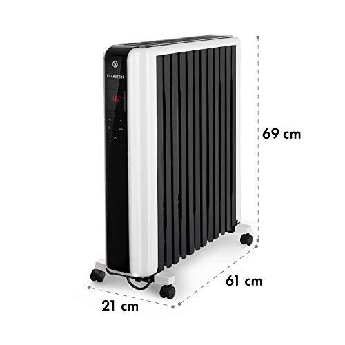KLARSTEIN Thermaxx 2500 radiador de Aceite - Radiador eléctrico, 2500 W de Potencia, 5-35 °C, Forma Especial, Pantalla LED, Programable 24 h, Muy Ligero, Portátil, Ruedecillas, Blanco