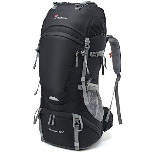 Mountaintop 65L Outdoor Hiking Backpack Camping Backpack Internal Frame Bag, Black