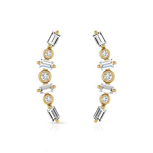 Pendientes minimalistas de cartílago de diamante certificado IGI, pendientes dorados delicados de trepador, pendientes de dama de honor. 10K Oro rosa, Par