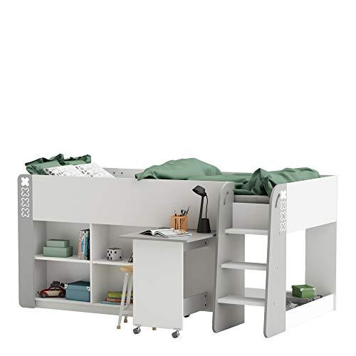 habeig Kinderbett HOCHBETT Weiss #070 Schreibtisch auf Rollen + Treppen KOMBIBETT 90x200cm