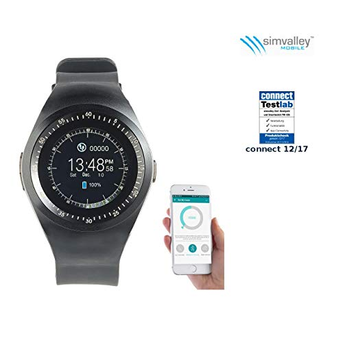 simvalley MOBILE Smartwatch mit SIM: 2in1-Uhren-Handy & Smartwatch für iOS & Android, rundes Display (Smartwatch mit Telefon)
