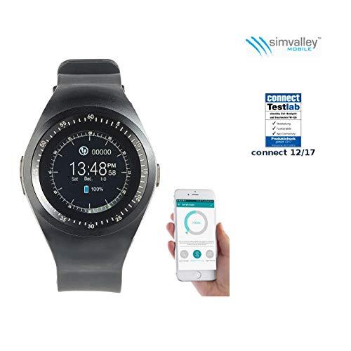 simvalley MOBILE Smartwatch mit SIM: 2in1-Uhren-Handy & Smartwatch für iOS & Android, rundes Display (Watch)