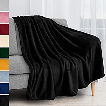 PAVILIA Fleece Blanket Throw | Super Soft Plush Luxury Flannel Throw | Lightweight Microfiber Blanket for Sofa Couch Bed  Black 50x60 inches