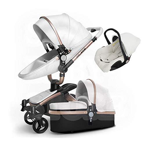 HXPH 3-in-1Baby Kinderwagen hoch Landschaft Faltbare Zwei-Wege-Schock Babyauto kann sitzen und Legen leichte Trolley(Weiß)