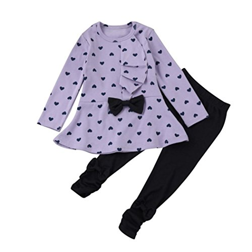 Sannysis Cute Baby-Mädchen Langarm-Blumen-Bogen-Hemd + Plaid Pant Set Kleidung (100(2-3Y), Lila)