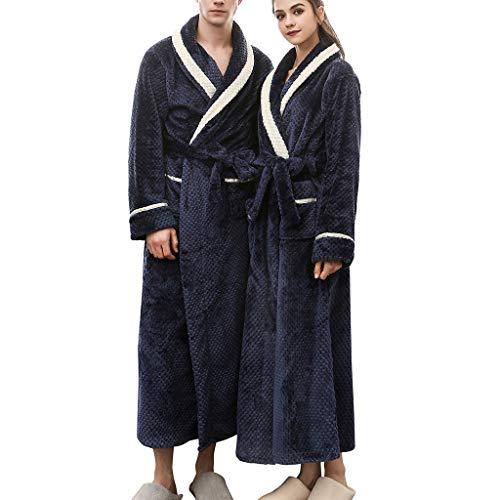 Guoxn Men/Women Winter Long Kimono Bath Robes Couples Shawl Collar Fleece Full Length Bathrobe Spa Robe Soft Thick Sleepwear Loungewear Pajamas Warm Shower Nightgown (Navy, 3XL)