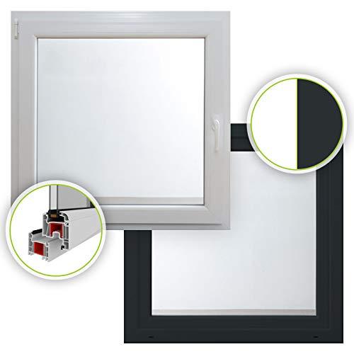 HORI® Dreh-Kipp Kunststoff-Fenster I 2-fach verglast I innen weiß - außen anthrazit I DIN links I 500 x 700 mm (Länge x Breite)