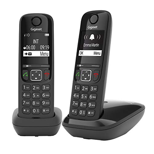 Gigaset AS690 Duo 2 Schnurlose Telefone , Display mit Jumbomodus , brillante Audioqualität , einstellbare Klangprofile , Freisprechfunktion , Anrufschutz, schwarz