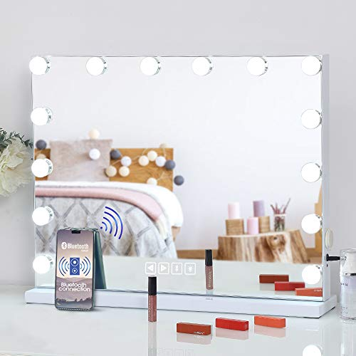 FENCHILIN Large Vanity Mirror with Lights and Bluetooth Speaker,Hollywood Lighted Makeup Mirror with 14 Dimmable LED Bulbs for Dressing Room & Bedroom, Tabletop or Wall-Mounted