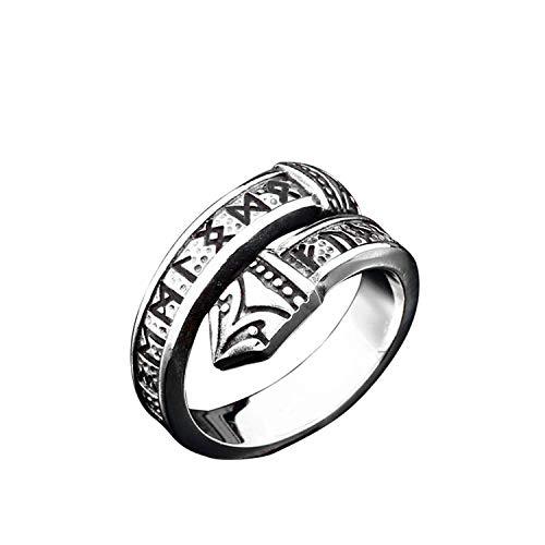 NA Anillo de Hombre de Moda Viking Rune Charm Nordic 316l Acero Inoxidable Thor Hammer Den skandinaviske Jewelry