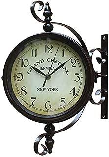 ヴィンテージウォールクロック回転時計錬鉄製アンティークラウンドの装飾壁掛け両面両面レトロなステーションクロック壁,36*9*30.5cm