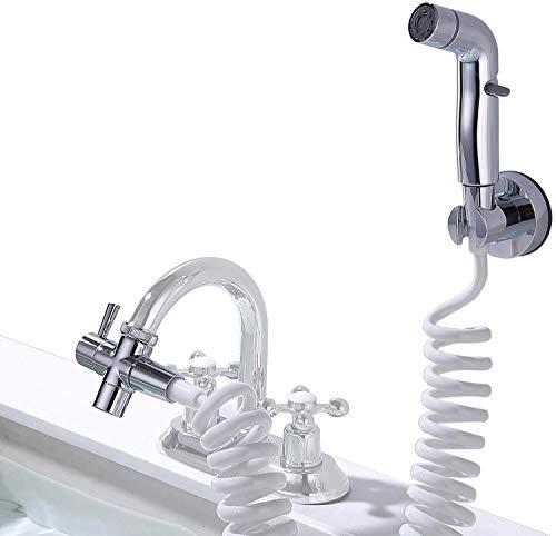 Alcachofa de ducha para lavabo con manguera de ducha, cabezal de ducha de tres modos, tubo telescópico de 80 pulgadas, muy adecuado para champú, bañera, ropa de mascotas (tubo telescópico)