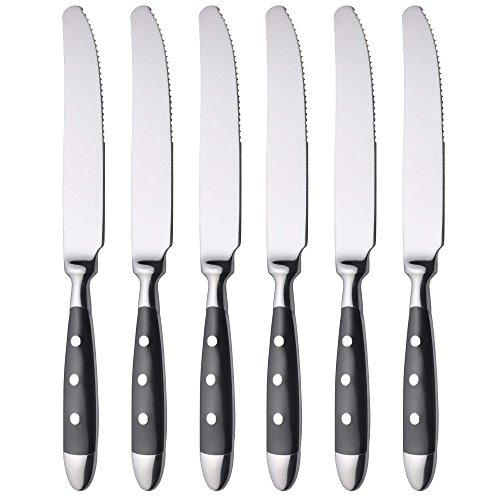 GRÄWE Tafel-Messer 6er Set - Menümesser aus geschmiedetem Edelstahl, rostfrei, nickelfrei, schwarzer Griff, Serie