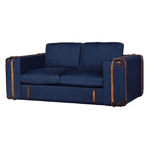 Sconosciuto Divano Grena 2posti a Due posti, Jeans Tessuto Jeans Blu, Larghezza 166cm, profondità 99cm, Altezza 95cm