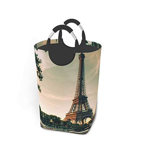 ELIENONO Bolsa de lavandería,París Francia Torre Eiffel Hermoso Paisaje Urbano,Cesta de lavandería Plegable Grande,Cesto de Ropa Plegable,Papelera de Lavado Plegable