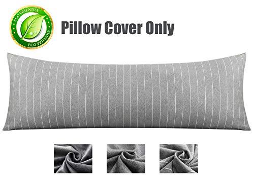 KWLET Body Pillow Cover Cotton Body Pillow Case Pillowcase with Double Zipper 21' x 54' Luxury Long Body Pillow Case Pillow Protector Cushion Cover Long Body Pillow Cover Grey White Stripe