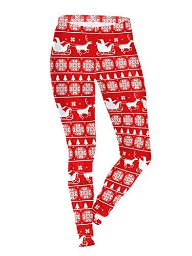 DeuYeng Mallas de Navidad feas para mujer, con estampado divertido de cintura alta, para disfraz de yoga, Estilo 13., S