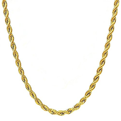 Q&S Jewels 3MM Mens Gold Twist Rope Chain Necklace, 18K Gold Plated Stainless Steel Chain Necklace Links, Fashion Jewelry for men women, Wear Alone or with Pendant, 18Inch