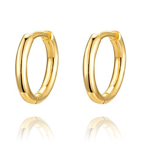PRETTERY Silver Hoops Earrings for Women, Hypoallergenic 925 Sterling Silver Gold Hoop Earrings, 8mm Small Sleeper Cartilage Silver Earrings for Men Girls Wife Daughter