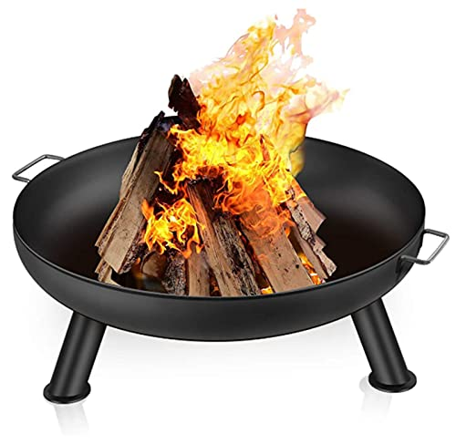Fire Pit Outdoor Wood Burning Fire Bowl 28in with A Drain Hole Fireplace Extra Deep Large Round Cast Iron Outside Backyard Deck Camping Beach Heavy Duty Metal Grate Rustproof Black