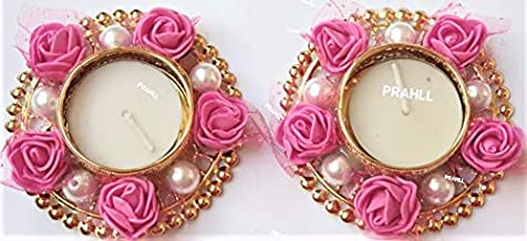 Designer Tea Light Diya/Candle Holder of Artificial Rose Flower Decoration Diwali Diya for Diwali and Festivals and PUJA (Set of 2) (3 INCH Each) (Pink, Metal)