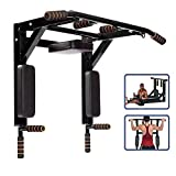 ANTOPY Wall Mounted Pull Up Bar Dip Station 2 in 1 Multifunctional Home Gym Workout Equipment Multi...