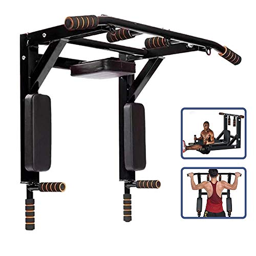 Product Image 1: ANTOPY Wall Mounted Pull Up Bar Dip Station 2 in 1 Multifunctional Home Gym Workout Equipment Multi Grip Heavy Duty Chin-Up Fitness for Strength Training Supports to 440lbs