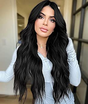 AISI HAIR Long Black Curly Wavy Wigs Middle Part Natural Looking Long Wavy Dark Wig for Women Synthetic Heat Resistant Fiber Wig for Daily Use