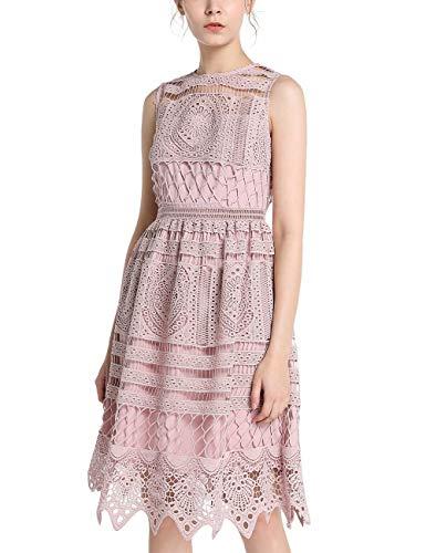 APART Fashion Damen Lace Dress Cocktailkleid, Mauve, 34