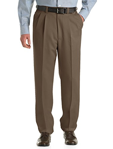 Oak Hill by DXL Big and Tall Waist-Relaxer Pleated Microfiber Pants, Dark Taupe, 44 X 34