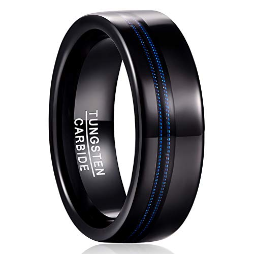 MEILING LINGMEI Men's Tungsten Ring Blue Guitar String Inlay 8mm Black Plated Wedding Jewelry Bands Size 10