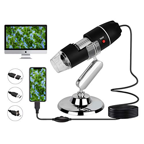 USB Digital Microscope 40 to 1000x, 8 LED Handheld Magnification Endoscope Camera with OTG Adapter and Metal Stand, Compatible with Android, Mac,Window 7 8 10 for Kids, Students, Adults