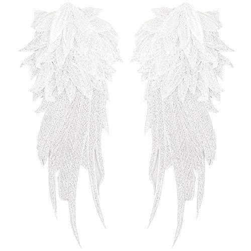 Meliya, 1 coppia di toppe termoadesive a forma di ali d'angelo, ricamate fai da te, bianco, taglia unica