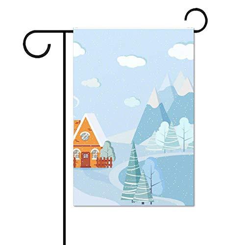 Wendana Mooie Kerstmis Winter Lake Landschap Tuin Vlaggen Dubbele Zijde 28 x 40 voor Outdoors Huis Yard Vlaggen Decoratieve Seizoensgebonden Decor Vlag voor Boerderij