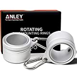 Anley 1.25' Aluminum Flagpole Mounting Rings Set - Anti Wrap 360° Rotatable Ring with Carabiners - Ideal for 1 to 1-1/4 Inch Diameter Flag Pole & Flag with 2 Grommets(Silver, Pack of 2)