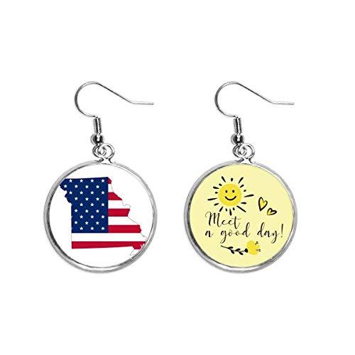 Missouri USA - Pendientes de diseño de estrellas y rayas con forma de bandera para el sol, diseño de gotas de oreja