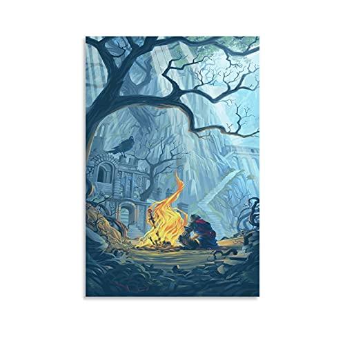 Poster décoratif sur toile Dark Souls Firelink pour salon, chambre à coucher 30 x 45 cm