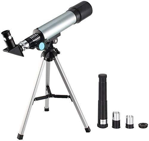 Gpzj Telescopio para niños de 360x50 mm con trípode y Visor, telescopio portátil para niños y Principiantes, Espejo de Viaje, Mapa de Estrellas y Luna Incluido