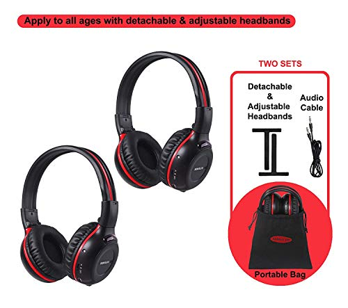SIMOLIO 2 Pack of Wireless Car Headphones, 2 Channel IR Wireless Headphones for Kids, in Car Wireless DVD Headphones with Storage Bag for Universal Rear Entertainment System, Not for 2017+ Pacifica