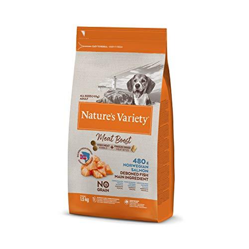 Nature's Variety Selected Meat Boost - Pienso para perros adultos con salmón noruego sin espinas 1,5 Kg