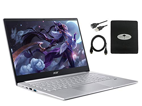 "2020 Newest Acer Swift 3 14"" FHD Thin & Light Laptop, AMD Ryzen 5 4500U(up to 4.0GHz), 8GB RAM, 512GB PCIe SSD, Backlit KB, Fingerprint Reader w/Ghost Manta Accessories"